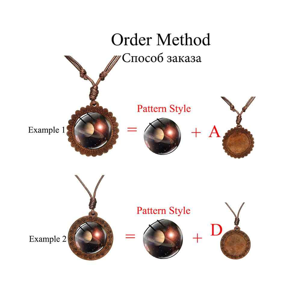 SIAN Vegan Healthy Diet Wooden Made Necklace I Love Vegetable Glass Dome Pendant Fashion Vegetarian Symbol Jewelry for Women Men