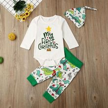 Одежда для новорожденных мальчиков; комбинезон с длинными рукавами и надписью «My First Christmas»; брюки с динозаврами; комплект одежды; осенняя одежда