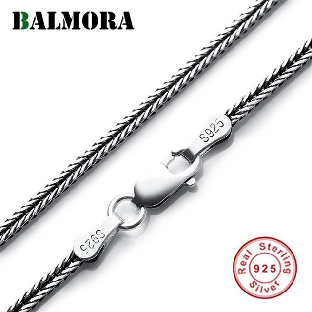 BALMORA collares de cadenas Retro Para hombre y mujer, Plata de Ley 925 auténtica, joyería de cadenas de serpiente sencilla, 2,5mm, 18 32 pulgadas