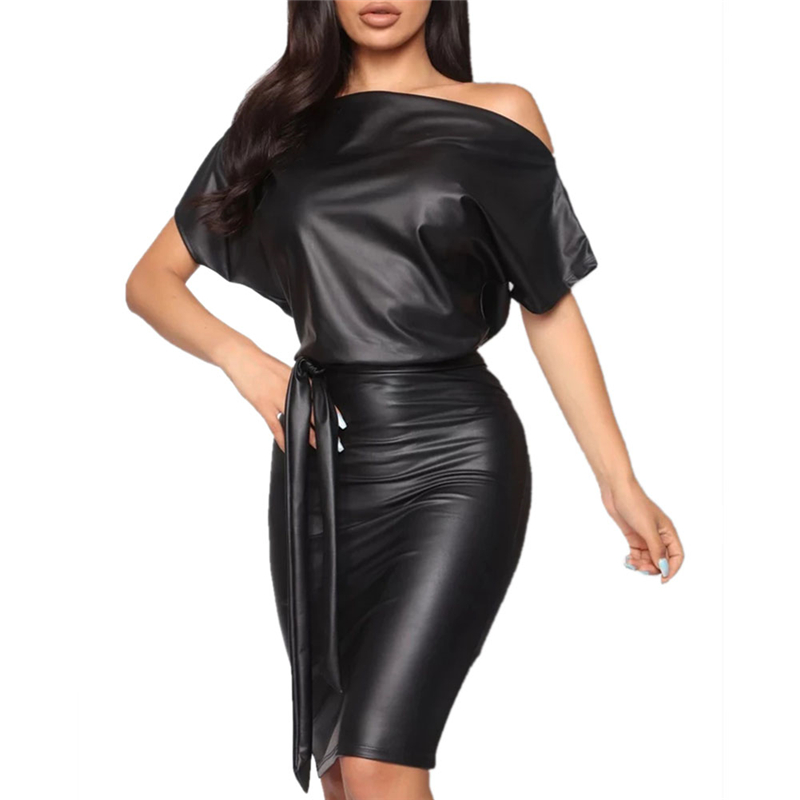 New Women PU Leather Mini Dress Sexy Black Crew Neck Wet Look Bodycon Bandage Party Club Mini Dress