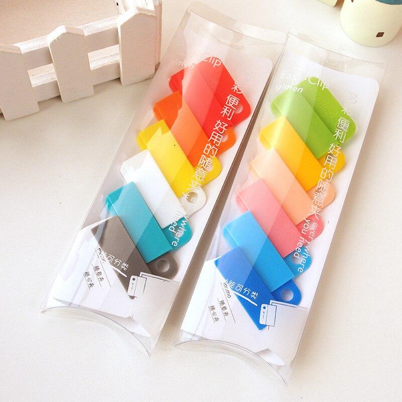 6pcs Candy Color Free Clip Simple Multi-color Sealing Clip File Classification Folder Magnetic Clips Plastic Paper Clip Lot