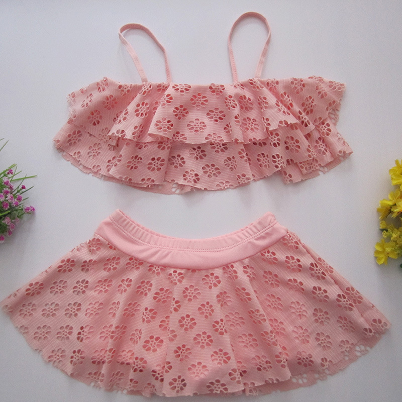 2019 New Style Korean-style KID'S Swimwear Women's Small CHILDREN'S Lace Camisole Hipster Split Type Baby Bathing Suit Manufactu