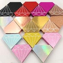 10 Pcs Mink Valse Wimpers Verpakking Box Groothandel Custom Logo Nep 3d Mink Wimpers Gevallen Rood Roze Strip Diamant Magnetische dozen