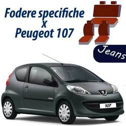 COPRISEDILI AUTO PEUGEOT 107 FODERE SPECIFICHE JEANS BLU POSTERIORE 50-50