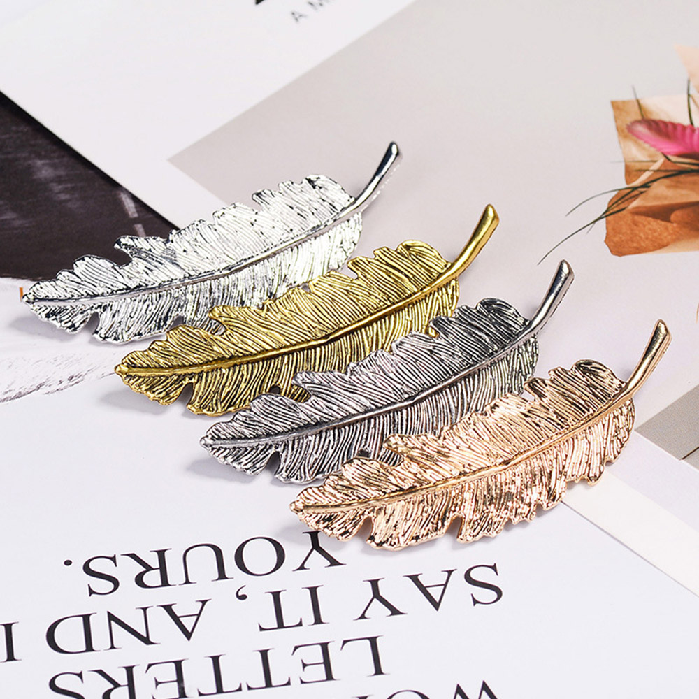 Vintage Metal Leaf Feather Hair Clip Girls Hairpin Princess Hair Barrette Accessories Hairpins For Women Styling Tools