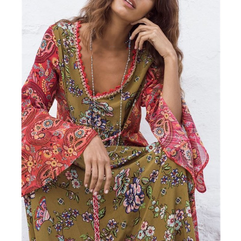 Long Gown Floral Print Bohemian Maxi Dress V Neck Long Sleeve Boho Dress Spring Women Gypsy Dresses Vestidos