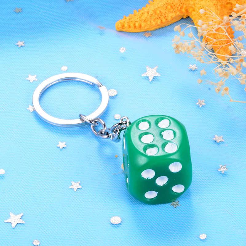 น่ารัก Candy Muticolor ลูกเต๋าพวงกุญแจกระเป๋าจี้คีย์แหวนสำหรับอุปกรณ์เสริม o rmen ผู้หญิงขนาดเล็กของขวัญจี้คีย์ chains
