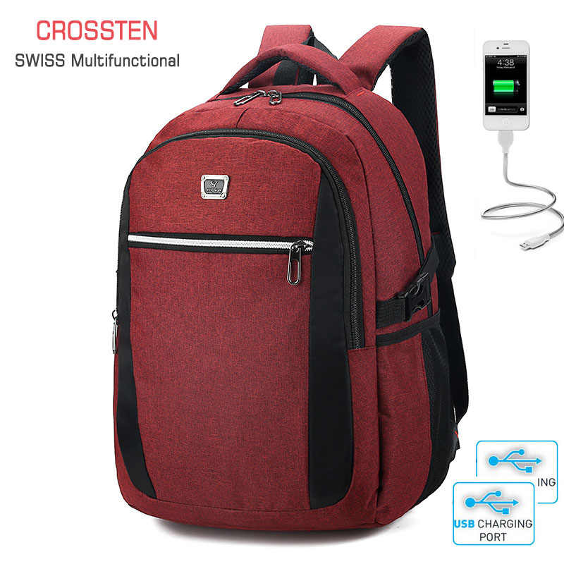 2019 New Unisex High Quality Oxford fabric Schoolbag Business Laptop Backpack USB Charge Port Shoulder Bags Computer Packsack
