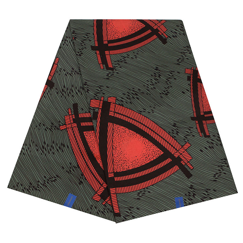 New Gothic Red Triangle Printed Wax Fabric For Uniform Sewing