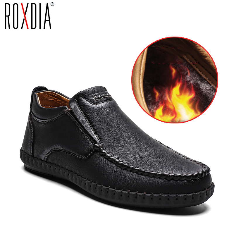 ROXDIA Brand Plus Size 39-48 Genuine Leather Men Casual Shoes Autumn Winter Man Flats British Retro Drive Male Loafers RXM141