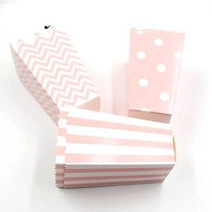 12pc Wave Striped Paper Popcorn Box Pop Corn Candy/ Sanck Favor Bag Xmas Wedding Kid Birthday Party Decoration(China)