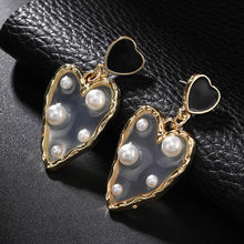 Romantic Love Earrings For Women Gold Big Heart Earrings Pearl Drop Earrings Elegant Calssical European Statement Jewelry Gifts For Lovers(China)