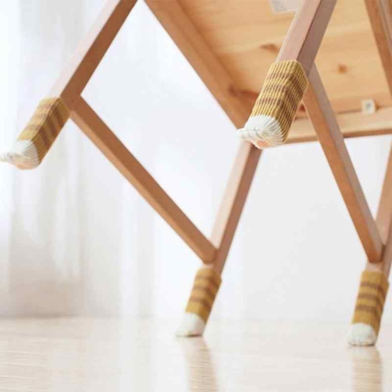 4 قطعة لطيف القط باو الجدول الجوارب القدم كرسي الساق يغطي حافظات الأرضية عدم الانزلاق الحياكة الجوارب ل الخشب والأثاث حافظات الأرضية