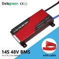Deligreen 14 s 80a 100a 120a 200a 58.8 v bms para o bloco da bateria de lítio 3.7v com função impermeável e do equilíbrio