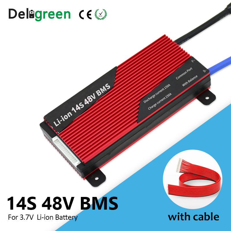 Deligreen 14S 80A 100A 120A 150A 58.8V BMS For 3.7v Lithium Battery Pack With Waterproof And Balance Function