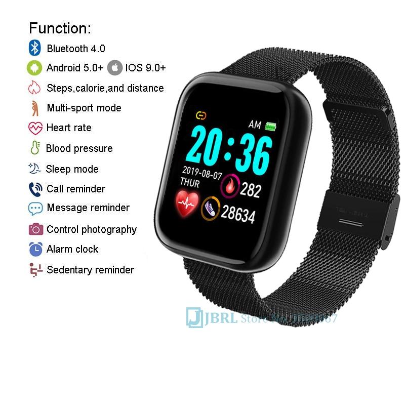 Lesfit rose montre intelligente femmes hommes Smartwatch pour Android IOS Bluetooth bracelet en acier montre intelligente montre électronique Fitness Tracker 5
