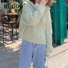 RUGOD 2019 Korean chic twisted cardigan women Fashion Long sleeve auturm winter warm sweaters female Elegant knitted cardigants
