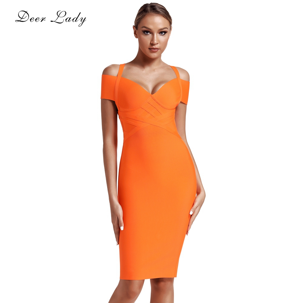 Deer Lady Women Bandage Dress 2019 New Arrivals Elegant Summer Off Shoulder Bandage Dress Orange Sexy Bodycon Dress Party Club