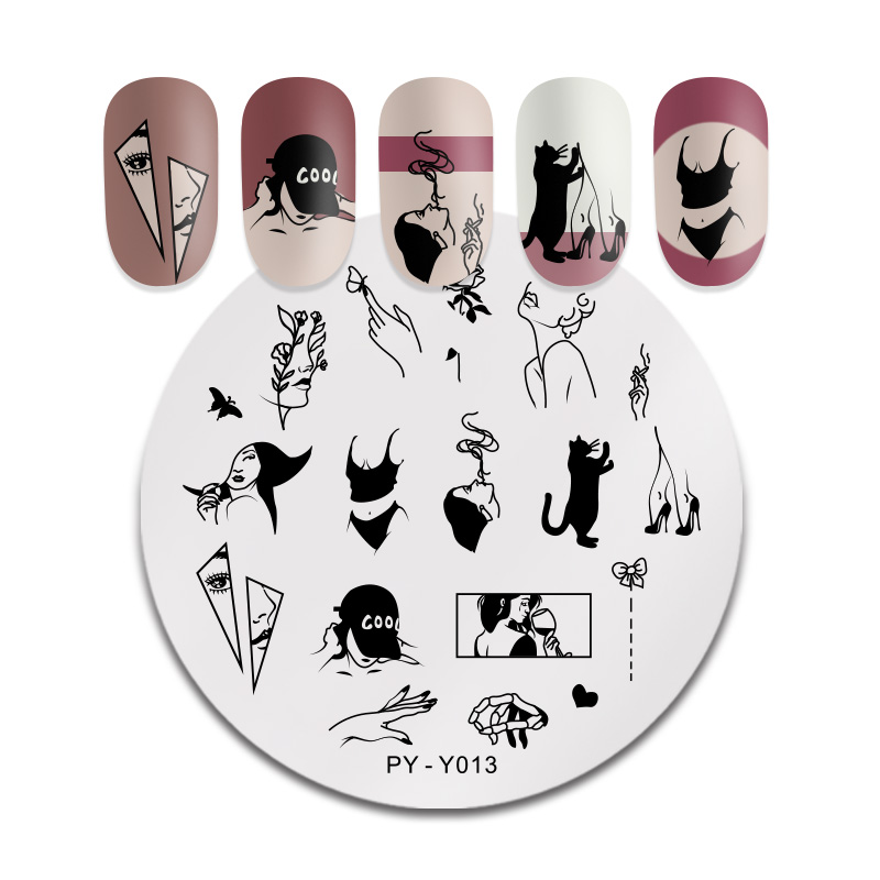 PICT You Round Leaves Stamping Plate Tattoo  Stainless Steel Nail Picture Stamp Templates Stencil Accessories Tools