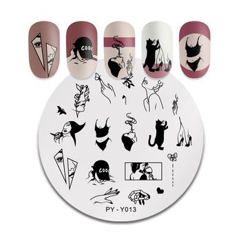 PICT You Round Leaves płytka do stemplowania tatuaż modne dziewczęce ze stalowymi ćwiekami obrazek szablony do stempli szablony akcesoria narzędzia tanie i dobre opinie 6cm*6cm Template PYI47944 Stainless Steel Tłoczenie
