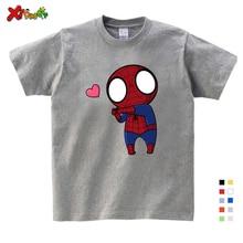 Boys Summer Clothes Spiderman Ironman Captain America T Shirt Short Sleeve Superhero Kids Cotton Gray Shirts 3T-9T