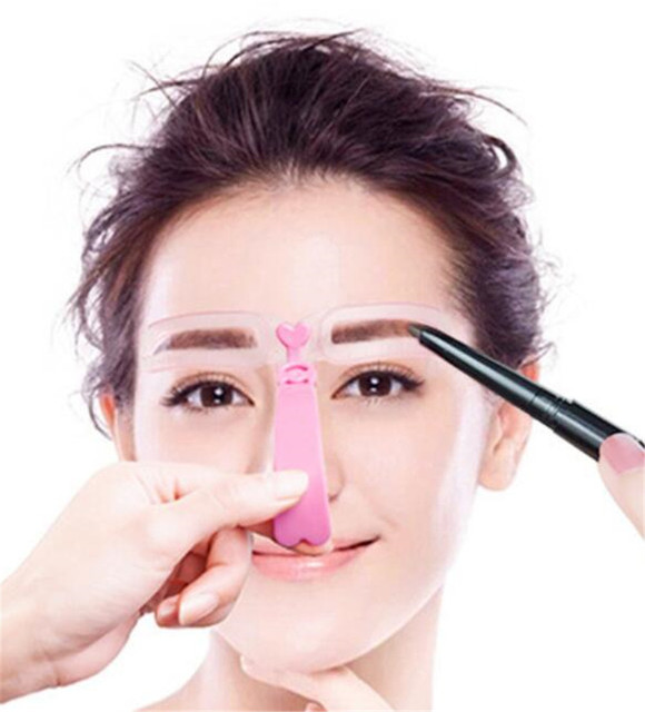 New 200 pcs/lot 4 Pieces Reusable Eyebrow model template Eyebrow shaper Defining Stencils makeup tools
