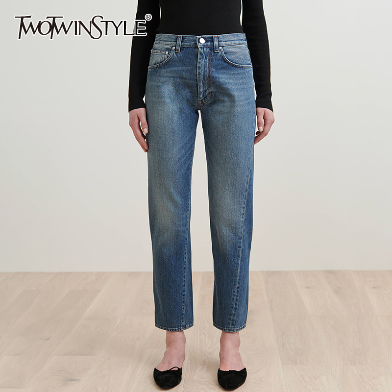 TWOTWINSTYLE Casual Jeans Woman High Waist Straight Loose Large Size Long Autumn Denim Pants Female 2019 Fashion Clothing New
