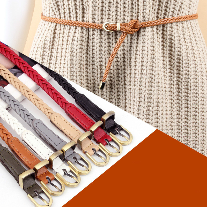 New Style Hand Woven Women's Belts Needle Buckle Retro Leisure Waist Rope Sweater Dress Decoration Off White Belt