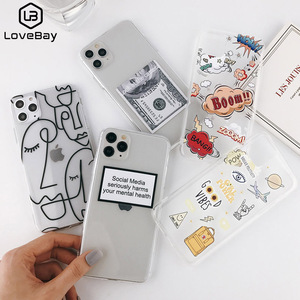Lovebay Abstract Clear Cartoon Phone Case For iPhone SE 2020 11 Pro Max X XR Xs Max 6 6S 7 8 Plus Soft TPU Cover For iPhone 11(China)