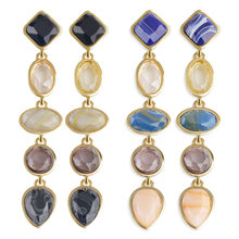 2 Pair Vintage Multicolor Water Drop Statement Long Earrings for Women Simulated Marble Style Party Beach Jewelry(Black & Blue)(China)