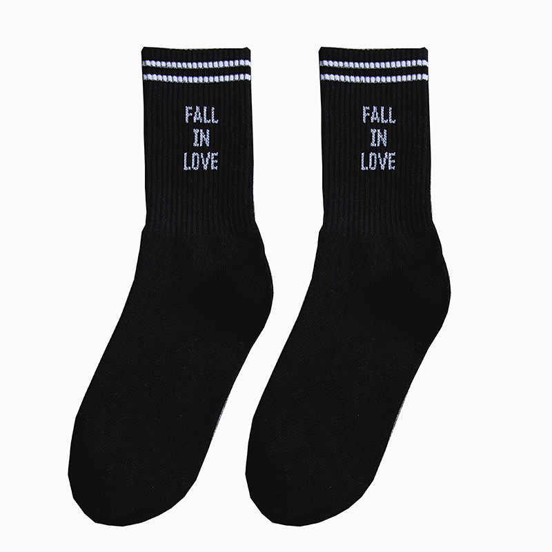 Calcetines de estilo Harajuku para hombre y mujer, estilo Hip hop, calcetines para montar en monopatín, otoño en amor, calcetines de algodón para parejas