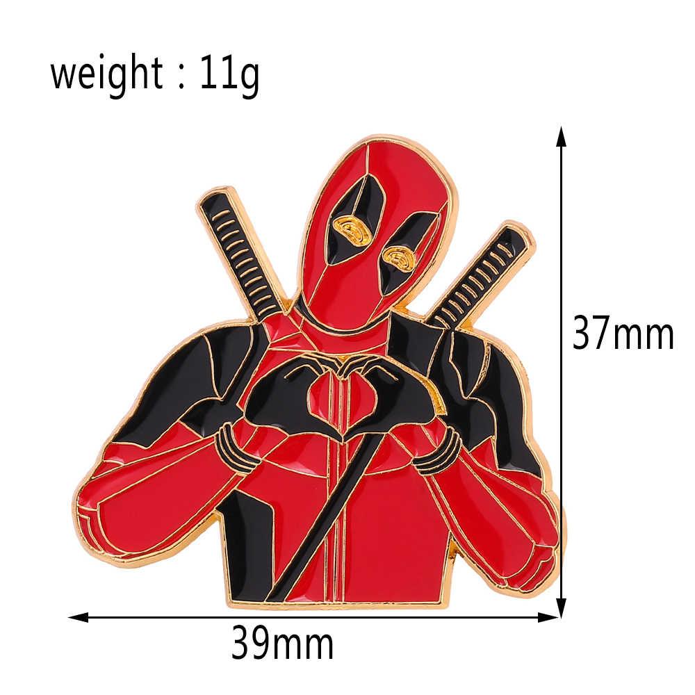 DC superpool deadpool Poetrait emalia Pin Cartoon palec serce przypinka biżuteria akcesoria dla kobiet mężczyzn