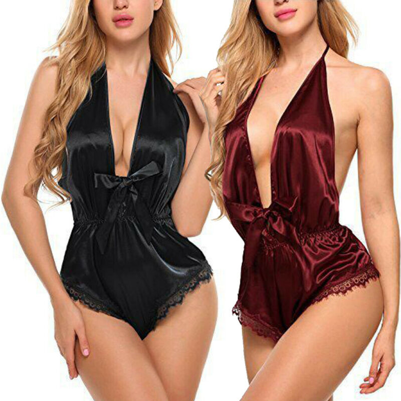 <font><b>Erotic</b></font> Bodysuit <font><b>Womens</b></font> <font><b>Sexy</b></font> <font><b>Satin</b></font> Lace Spliced <font><b>Lingerie</b></font> Babydoll <font><b>Underwear</b></font> Solid Color Backless Nightwear One Piece Bodysuit Hot image