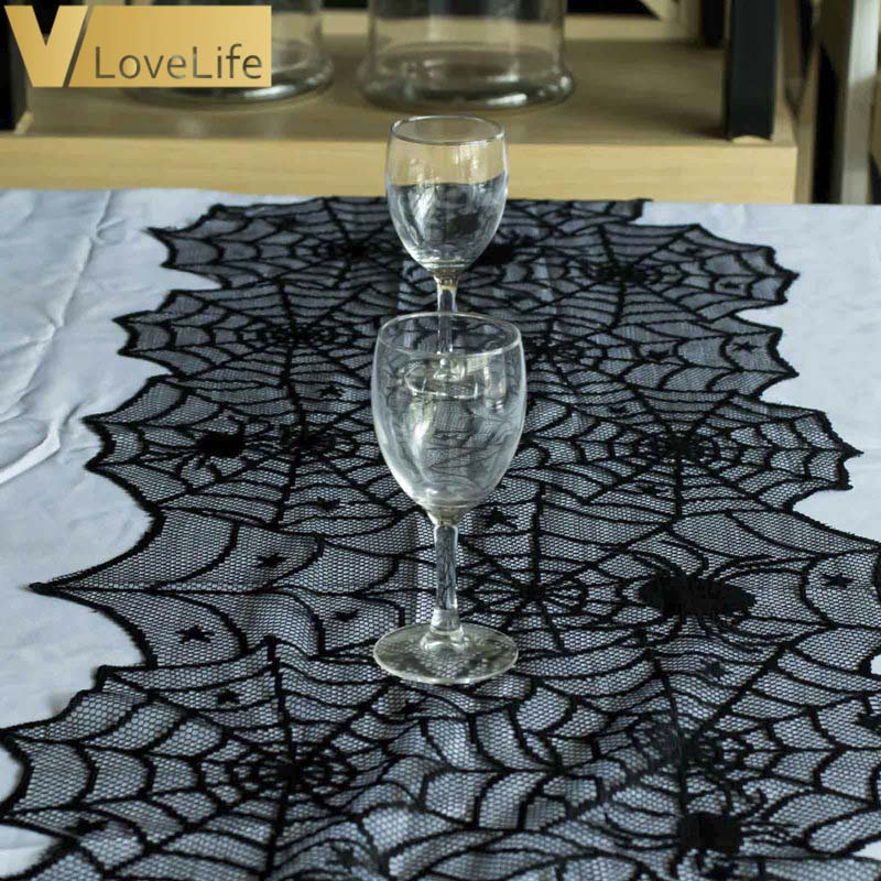 Halloween Spider Web Table Runners Black Lace Tablecloth Halloween Table Decoration Event Party Supplies 18