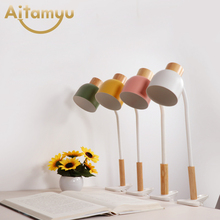 Nordic Wood Table lamp with USB Dimmer Switch Desk Light Deco Luminaria For Bedroom