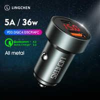 Lingchen carregador de carro 36 w carga rápida 4.0 3.0 metal duplo usb para iphone xiaomi huawei samsung usb tipo c 5a pd carregador de carro rápido