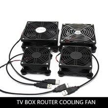 цена на Router fan DIY PC Cooler TV Box Wireless Cooling Silent Quiet DC 5V USB power 120mm fan 120x25mm 12CM W/Screws Protective net