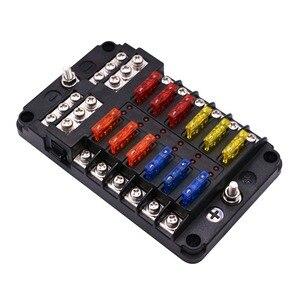 Пластиковый держатель коробки предохранителей 12 в 32 В, Шпилька M5 со светодиодным индикатором, светильник, 6-ходовой 12-ходовой Клинок для авт...