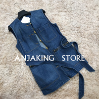 2020 summer new single breasted wash old distressed waist tie wild casual denim vest women's high quality vest
