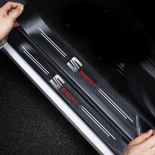 4Pcs Carbon Fiber Car Door Sill Guard Protector Stickers For Seat Leon Ibiza Alhambra Arosa Tolendo Exeo Mk2 MK3 Ateca Altea FR