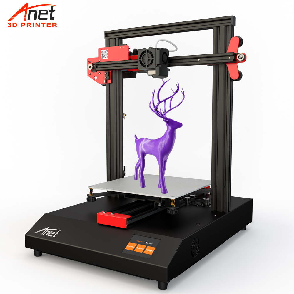 New ET4 Anet DIY 3D Printer Prusa Kit Auto Leveling & Loading Filament Detection Resume Printing Micro SD Card USB impressora 3D luces led de policía
