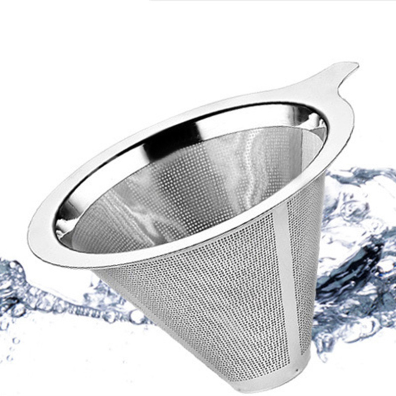 Double Coffee Filter Layer Mesh Cone Funnel Stainless Steel Metal Mesh Coffees Tea Filter Basket Tools Coffee Dripper Filter