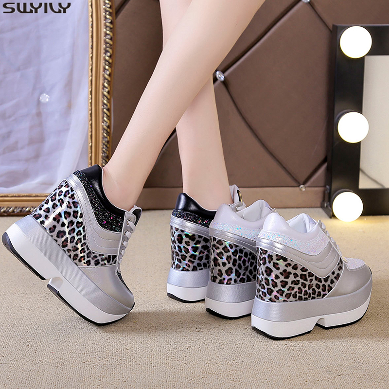 SWYIVY PU Chaussure Femme Casual Shoes Women Sneakers 2019 New Autumn Super High Wedges Shoes For Women Mixed Color Ladies Shoe