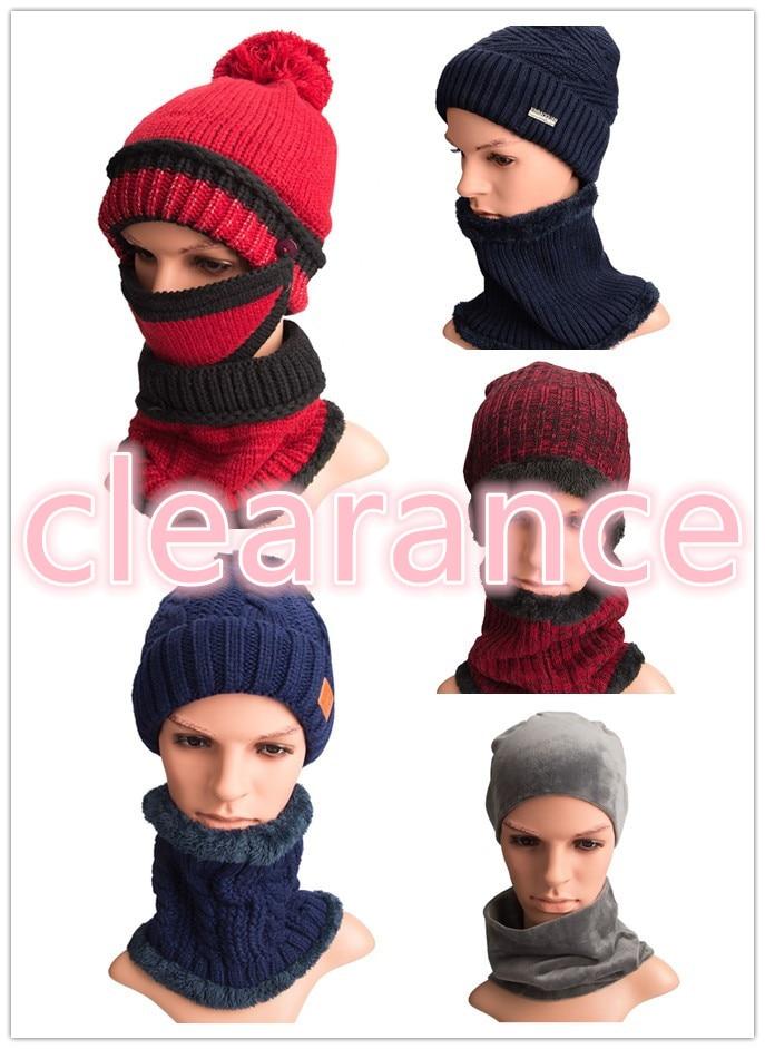 Maylisacc Big Sale Women Men's Autumn Winter Warm Knitted Hat Scarf Sets Acrylic Handmade Windproof Hat Scarf Sets