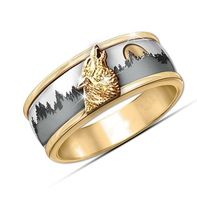 Wild Wolf Ring Two Tone Color Gold Silver