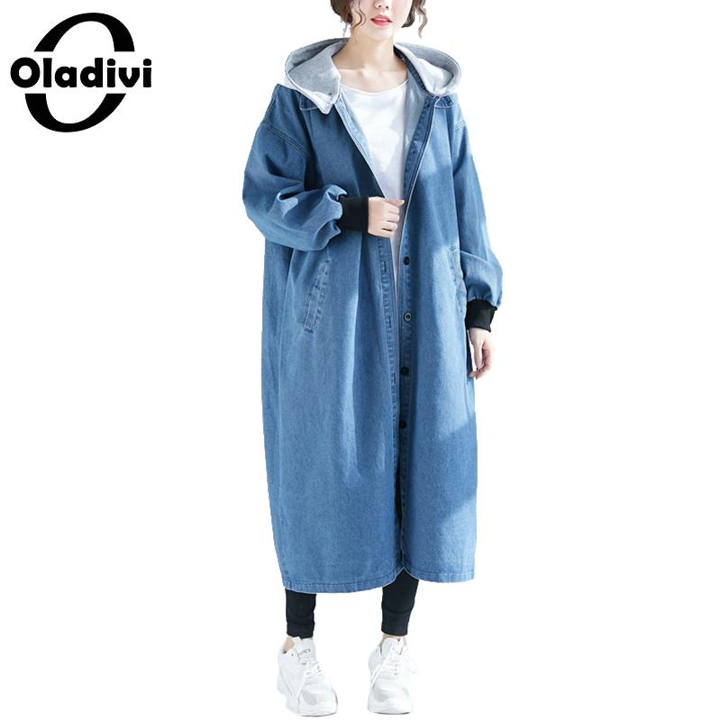 Oladivi Plus Size Women Denim Jeans Coats Ladies Hooded   Trench   Overcoat Casual Loose Outerwear Autumn 2019 Cardigans Female Tops
