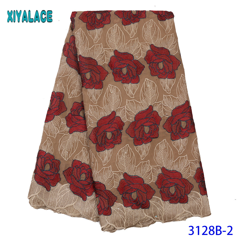 African Lace Fabric Swiss Voile Lace High Quality Lace Material Cotton Laces With Stones For Dresses KS3128B