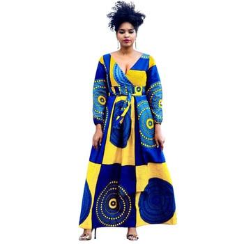 African Dresses for Women vestido Maxi Dress Plus Size African Clothes Dashiki Ankara Print Long Dress Bazin Riche African Dress
