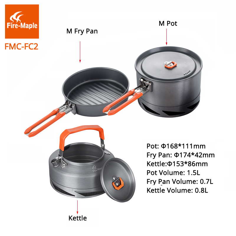 Image 3 - Fire Maple Camping Utensils Dishes Cookware Set Picnic Hiking  Heat Exchanger Pot Kettle FMC FC2 Outdoor Tourism Tablewarecamping  hiking cookwarehiking cookwareoutdoor camping hiking cookware -