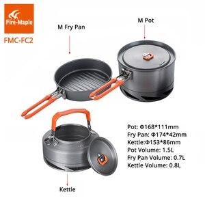 Image 3 - Fire Maple utensilios Camping senderismo cocina juego de Picnic Intercambiador de Calor olla Pan tetera FMC FC2 utensilios de cocina al aire libre vajilla